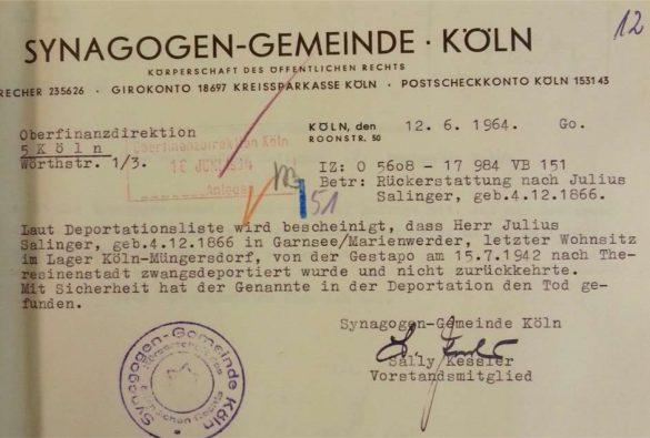 Deportations/Todesannahme: Julius Salinger